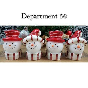 4 Department 56 Snowman Christmas Candles NWT